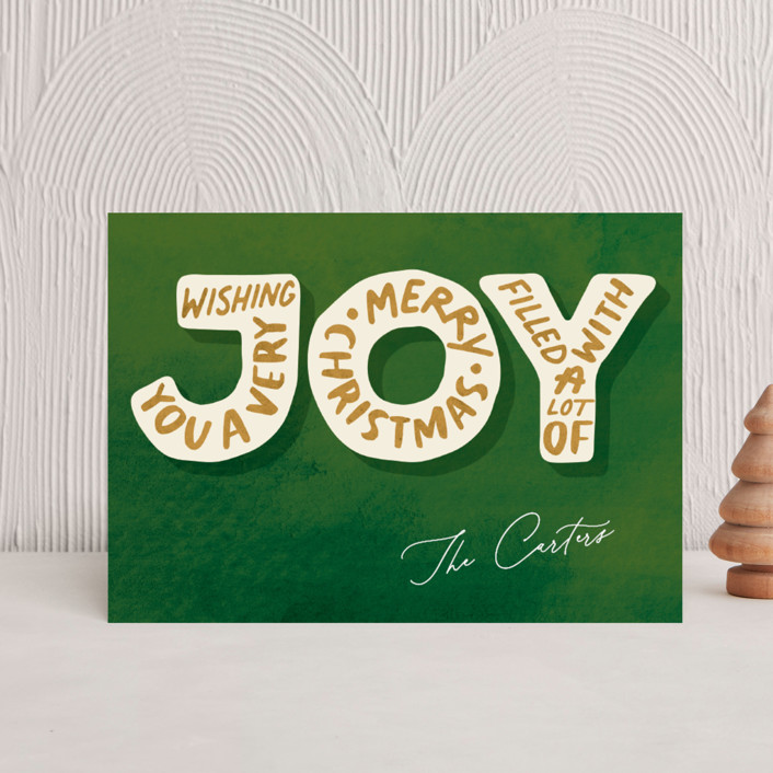 """Joyful Words"" - Holiday Petite Cards in Santa Red by GeekInk Design."