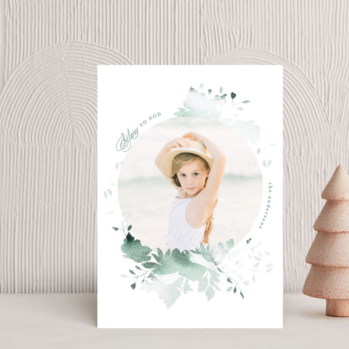 """""""Peaceful Blooms"""" - Holiday Petite Cards in Mint by Phrosne Ras."""