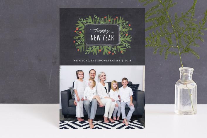 """Winter Foliage Frame"" - Holiday Petite Cards in Chalkboard by Jennifer Wick."