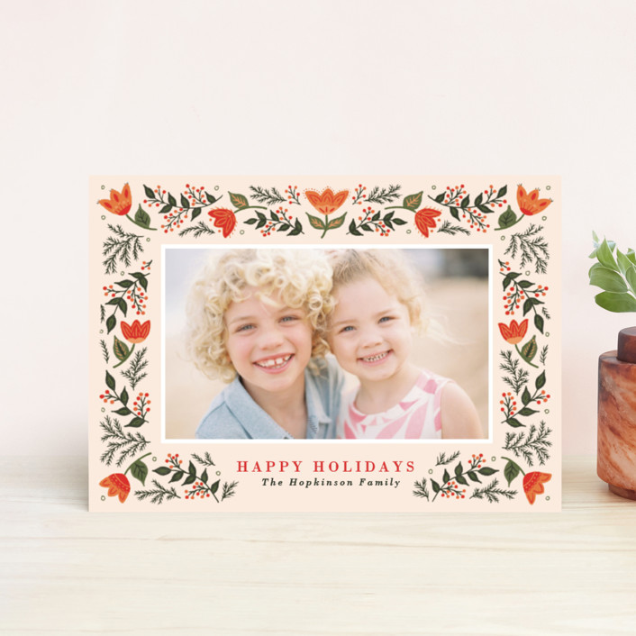 """Festive Folk"" - Holiday Petite Cards in Persimmon by Little Words Design."