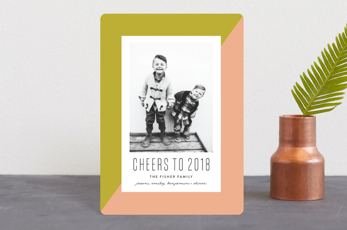 """On the Bias"" - Modern Holiday Petite Cards in Olive by Erica Krystek."