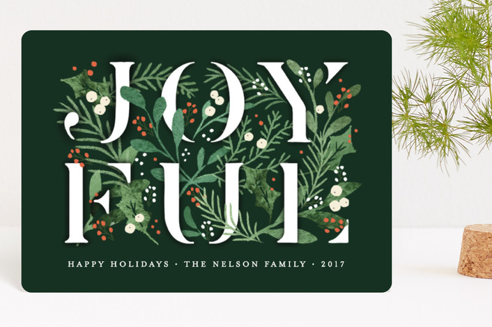 """Pine-filled with Joy"" - Holiday Petite Cards in Winter Green by Jennifer Wick."