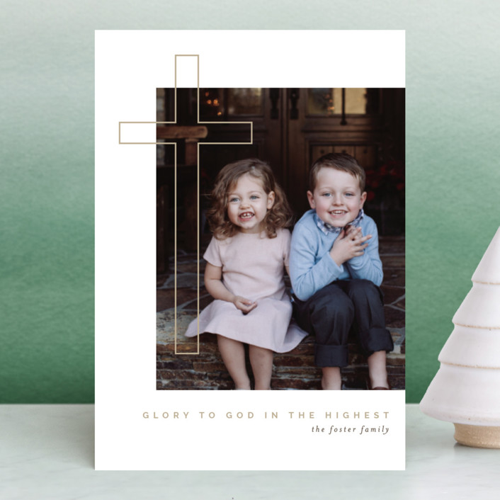 """Cross Glory"" - Holiday Petite Cards in Sand by Pixel and Hank."