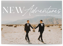 This is a white petite holiday card by Kann Orasie called Adventures with standard printing on smooth signature in petite.