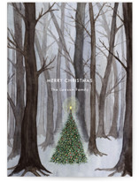 This is a grey petite holiday card by Karina Racz called Silent Night Woods with standard printing on signature in petite.
