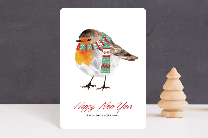 """christmas robin"" - Holiday Petite Cards in Snow by Cass Loh."