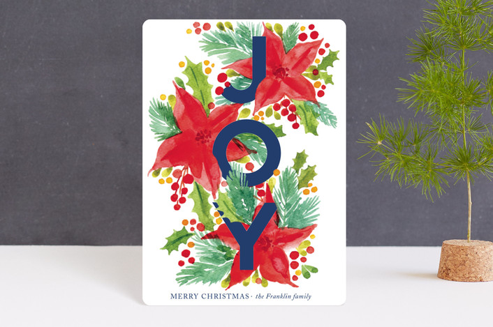 """Holiday Botanicals"" - Holiday Petite Cards in Holly Berry by Alexandra Dzh."
