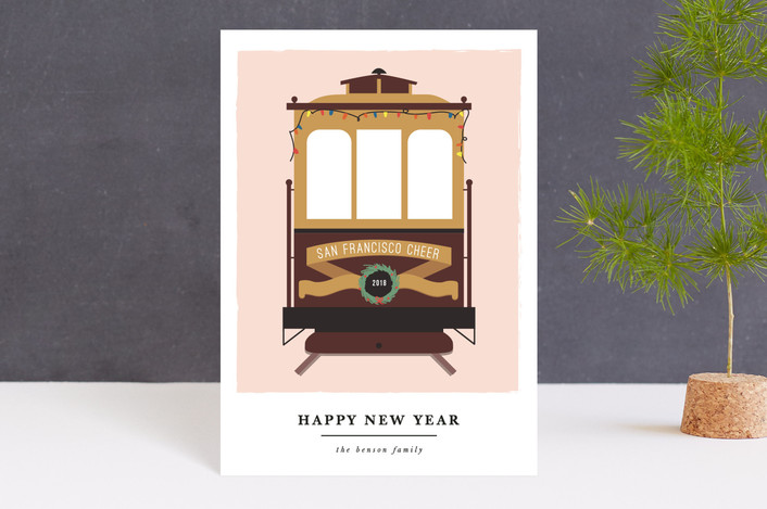 """san francisco transport cheer"" - Holiday Petite Cards in Fresh by Sweta Modi."