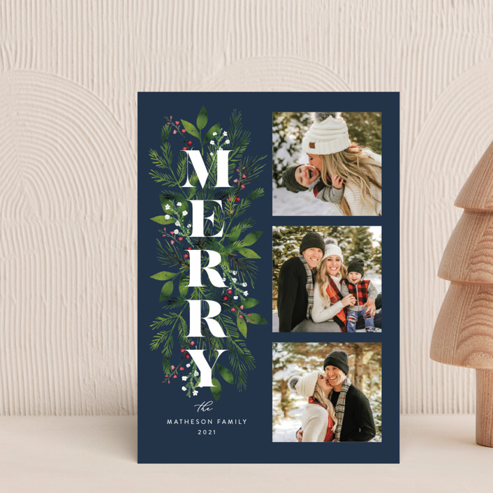 """""""Merry Boughs"""" - Holiday Petite Cards in Navy by Coco and Ellie."""