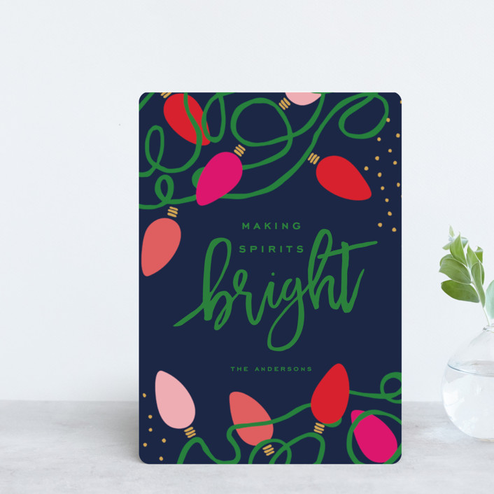 """Tangled Lights"" - Modern Holiday Petite Cards in Midnight by Oscar & Emma."