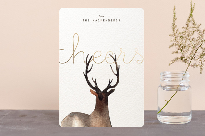 """Prancer with Joy"" - Bohemian Holiday Petite Cards in Vanilla by jinseikou."
