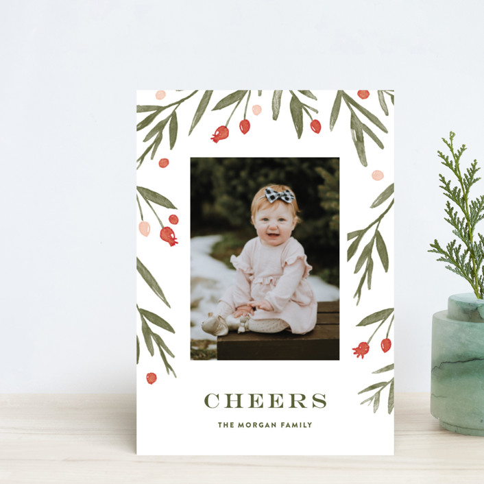 """""""Winter Harvest"""" - Holiday Petite Cards in Berry Red by Oscar & Emma."""