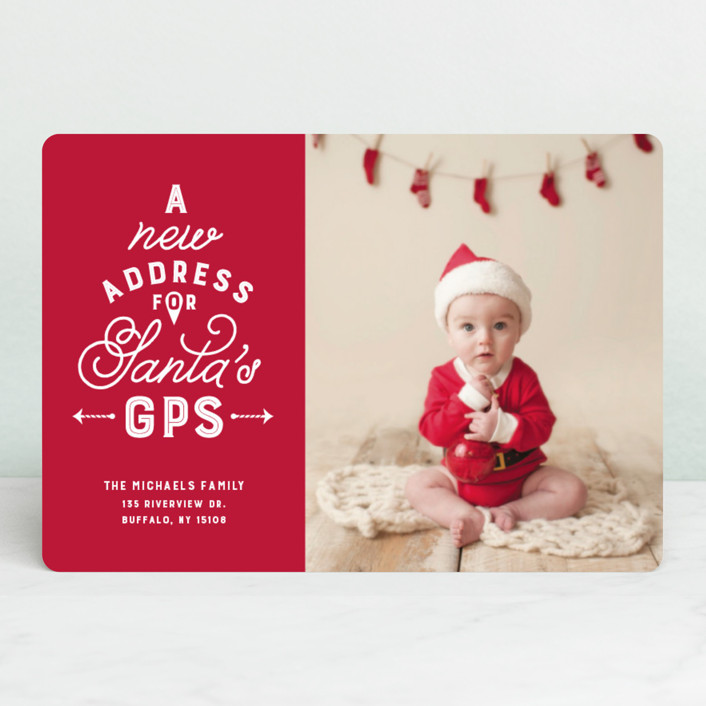 """""""New address for Santa's GPS"""" - Funny Holiday Petite Cards in Cardinal by Lea Delaveris."""