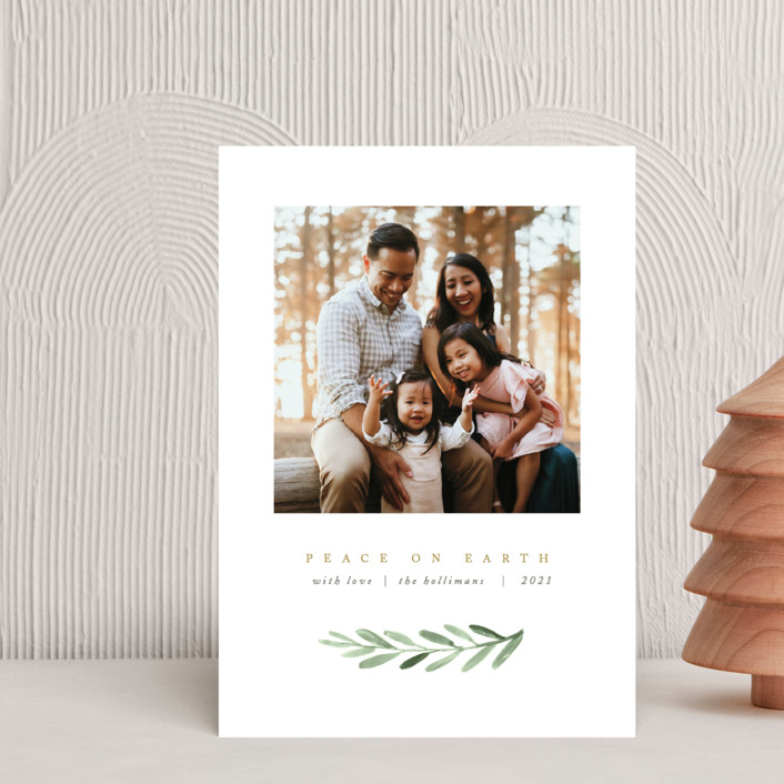 """""""Clean Laurel Wishes"""" - Holiday Petite Cards in Golden by The Carillos."""