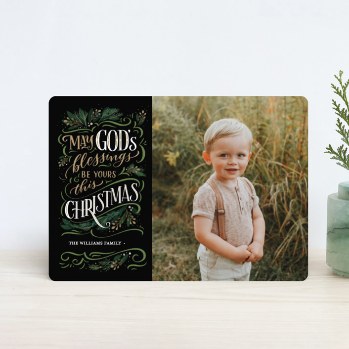 """God's Blessings"" - Vintage Holiday Petite Cards in Onyx by Laura Bolter Design."