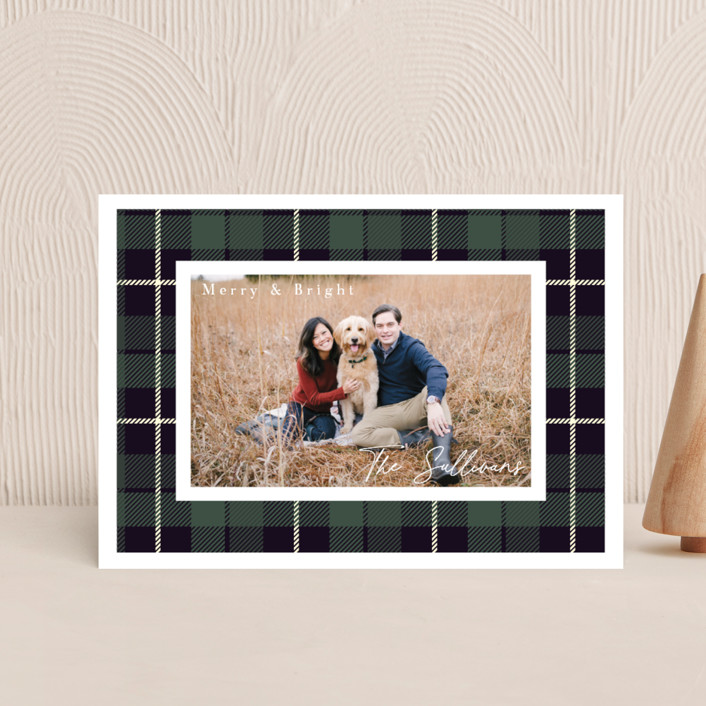 """""""Christmas Plaid"""" - Vintage Holiday Petite Cards in Winter Pine by Hudson Meet Rose."""