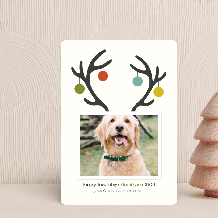"""Happy Howlidays"" - Funny Holiday Petite Cards in Evergreen by Lisa Cersovsky."