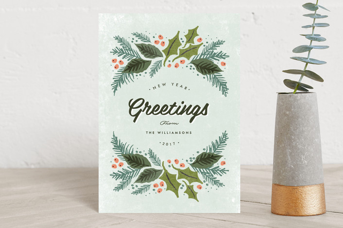 """""""winter evergreens"""" - Holiday Petite Cards in mist by Karidy Walker."""