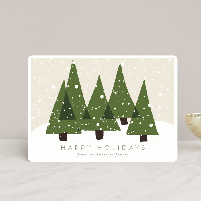 """Christmas Trees"" - Bohemian Holiday Petite Cards in Olive by Roopali."