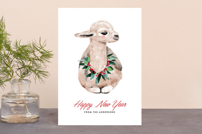 """baby llama"" - Bohemian Holiday Petite Cards in Snow by Cass Loh."