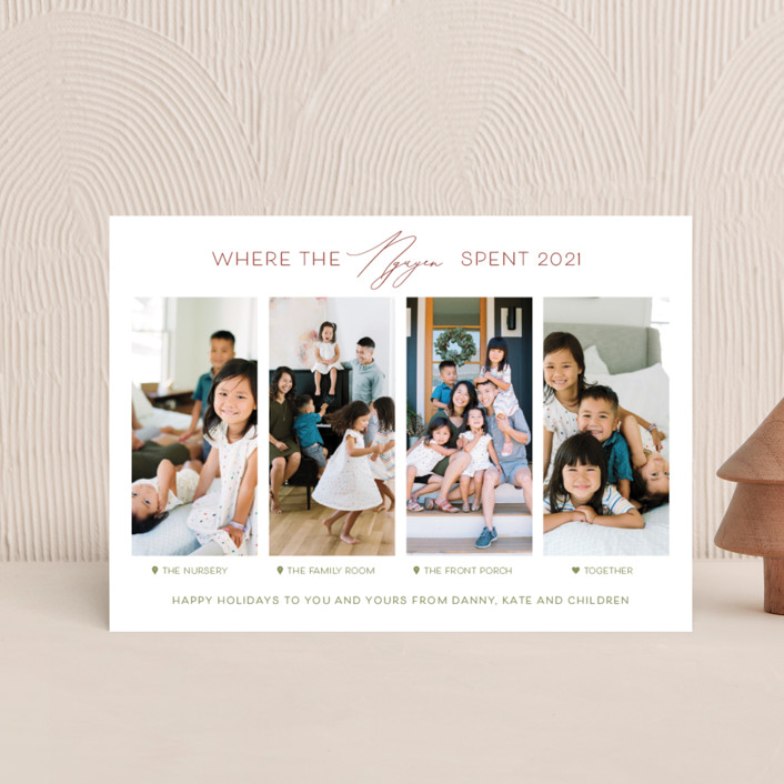 """""""Together Is Our Favorite Place"""" - Funny Holiday Petite Cards in Holly Berry by Carolyn Kach."""