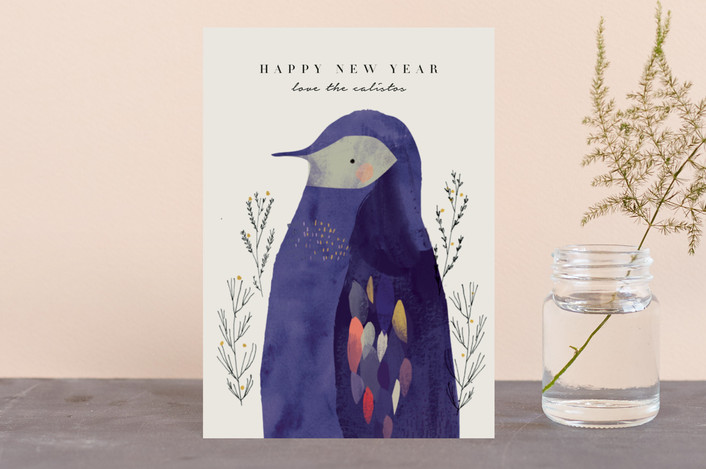 """Penguin"" - Bohemian Holiday Petite Cards in Champagne by Lori Wemple."
