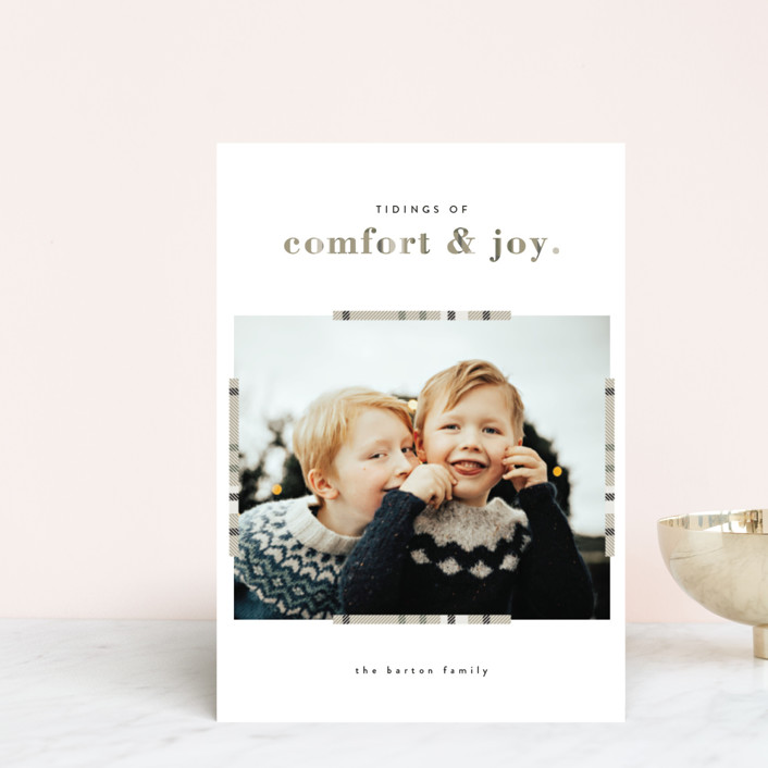 """""""Plaid Comfort"""" - Holiday Petite Cards in Wheat by Bonjour Berry."""