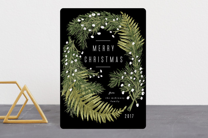 """Winter Ferns"" - Holiday Petite Cards in Onyx by Shiny Penny Studio."