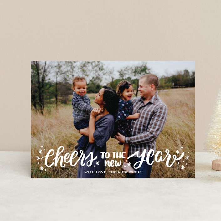 """""""A New Year Cheers"""" - Bohemian Holiday Petite Cards in Cream by Little Print Design."""
