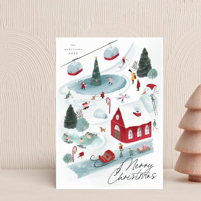 """North Pole Resort"" - Vintage Holiday Petite Cards in Gumdrop by Grae."