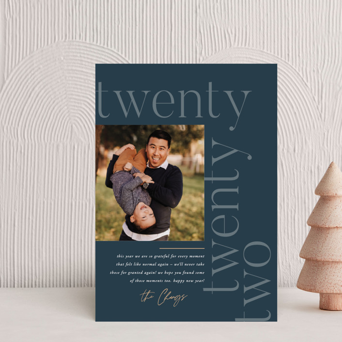 """""""Modern Letter"""" - Holiday Petite Cards in Lake by Robert and Stella."""