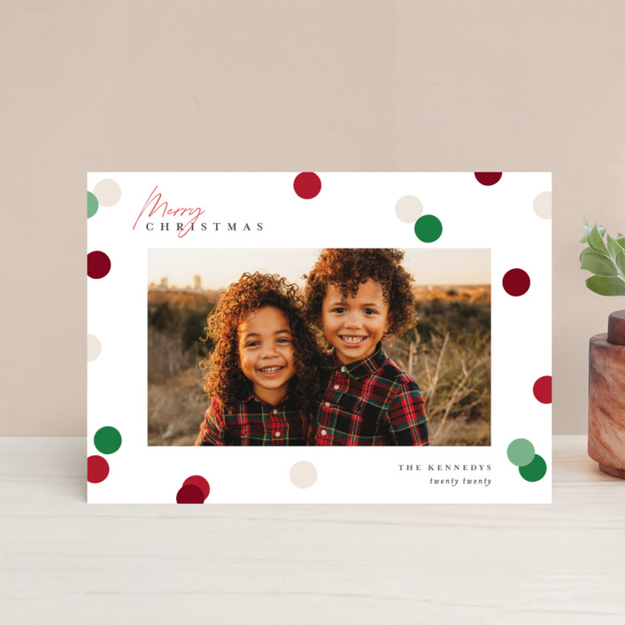 """Christmas Dots"" - Modern Holiday Petite Cards in Cardinal by Pixel and Hank."
