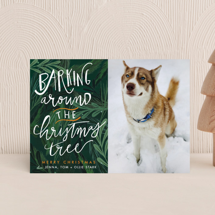 """""""Barking Fun"""" - Holiday Petite Cards in Evergreen by Stephanie Given."""
