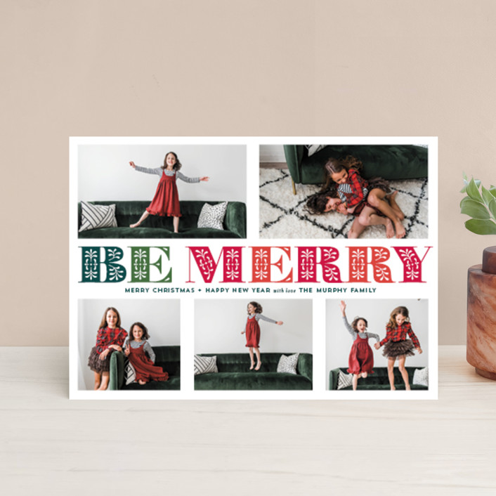 """Ornate Be Merry"" - Holiday Petite Cards in Evergreen by Coco and Ellie Design."