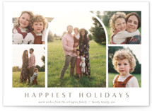 This is a brown petite holiday card by Ekko Studio called Arch Collage with standard printing on smooth signature in petite.