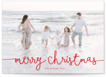 This is a red petite holiday card by Melanie Severin called Playful Script with standard printing on smooth signature in petite.