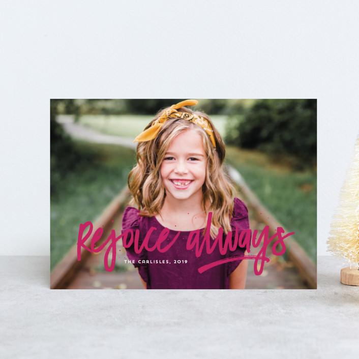 """Rejoice Always"" - Modern Holiday Petite Cards in Cloud by Lea Delaveris."
