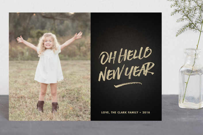 """""""oh hello new year"""" - Holiday Petite Cards in Latte by Waui Design."""