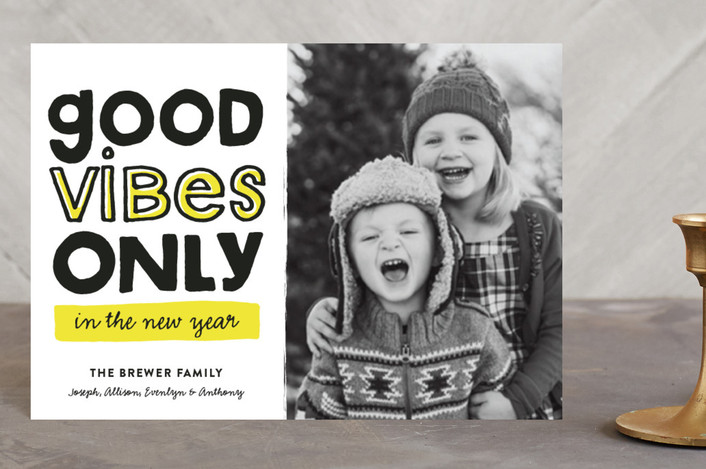 """Good Vibes Only"" - Holiday Petite Cards in Highlighter by Pistols."