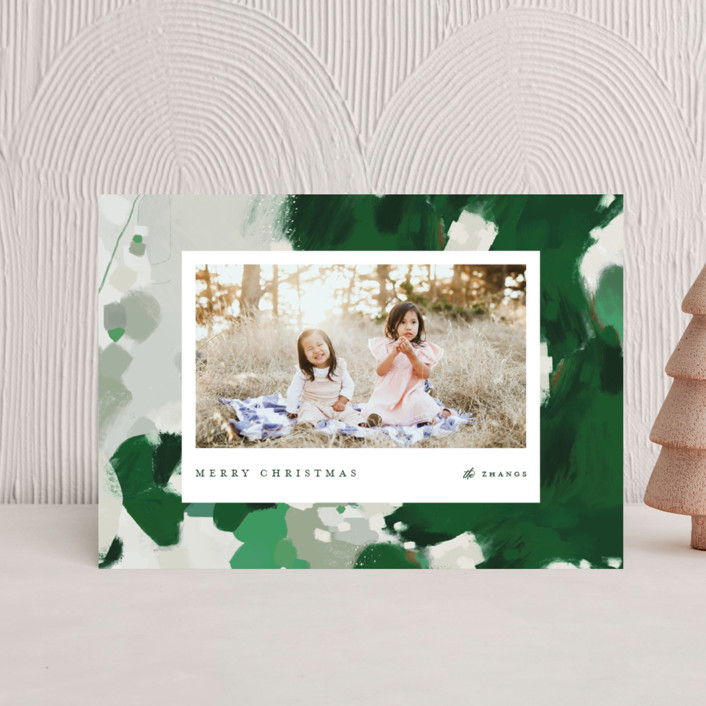 """""""Blithely"""" - Modern Holiday Petite Cards in Shamrock by Alaina Cherup."""