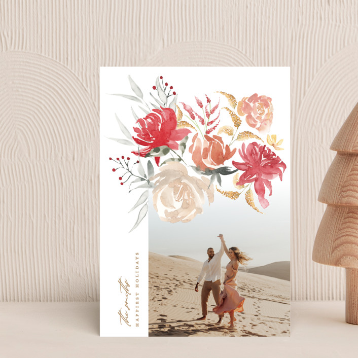 """""""bold christmas floral"""" - Holiday Petite Cards in Earth by Phrosne Ras."""