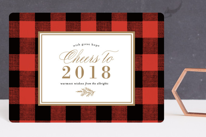 """Christmas Check"" - Holiday Petite Cards in Berry by Amy Kross."