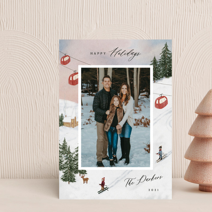 """""""Ski"""" - Vintage Holiday Petite Cards in Cranberry by Elly."""