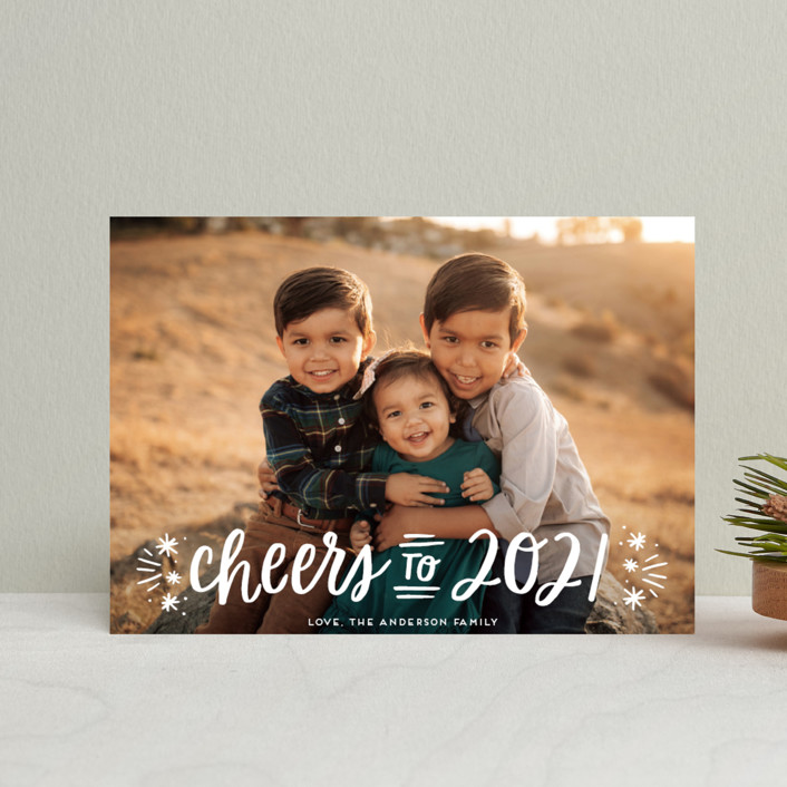 """""""A New Year Cheers"""" - Bohemian Holiday Petite Cards in Snowfall by Little Print Design."""