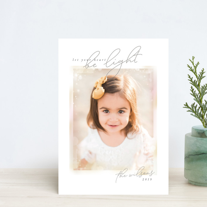 """""""Bokeh Frame"""" - Bohemian Holiday Petite Cards in Snow by Robert and Stella."""