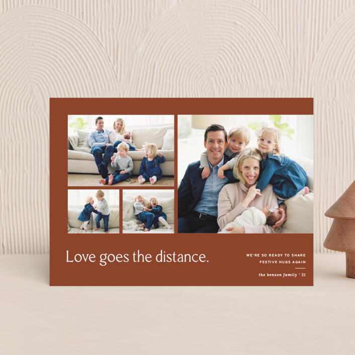"""Love Knows No Distance"" - Modern Holiday Petite Cards in Terracotta by Blustery August."