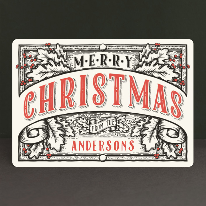 """Christmas Banner"" - Vintage Holiday Petite Cards in Ink by GeekInk Design."