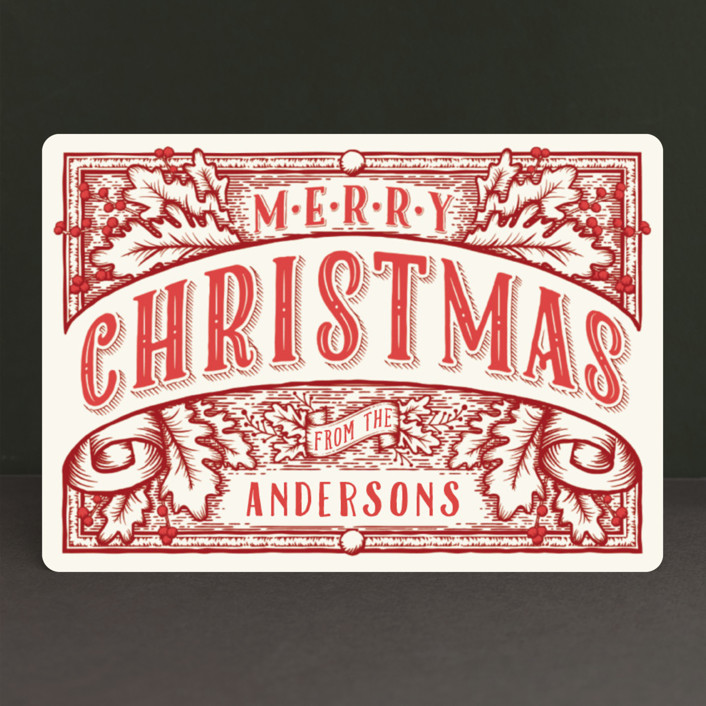 """""""Christmas Banner"""" - Vintage Holiday Petite Cards in Ink by GeekInk Design."""