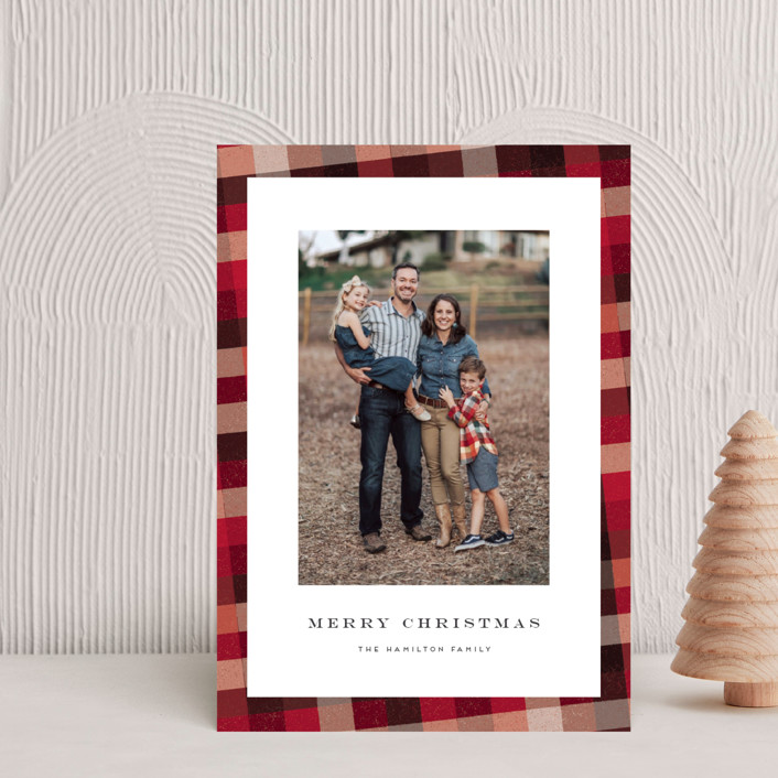 """""""Flannel"""" - Vintage Holiday Petite Cards in Cranberry by Amy Payne."""