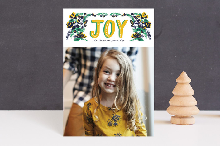 """""""vintage floral joy"""" - Holiday Petite Cards in Candied Lemon by Frooted Design."""
